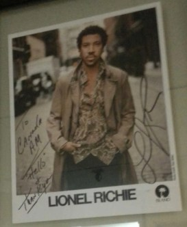 Lionel RIchie's signed photo in the CTV Green Room