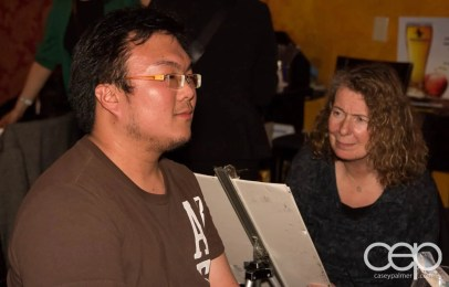 After Work Drinks Toronto 8 — #AWDTO — Valerie White sketching an AWDTO attendee