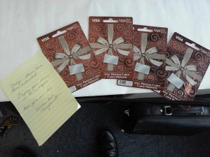 The four $250 gift cards that Sauza Tequila gave us to get our shop on!