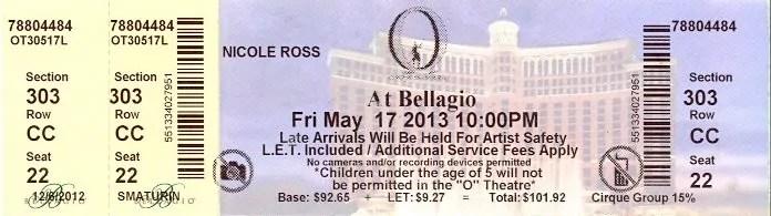 "BiSC and Las Vegas 2013 — The Bellagio — Cirque du Soleil ""O"" — Ticket"