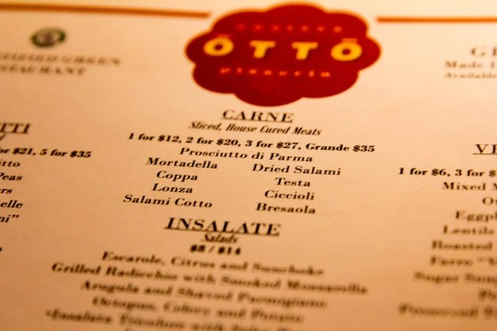 BiSC and Las Vegas 2013 — The Shoppes at the Palazzo — Otto Enoteca — Meat Menu