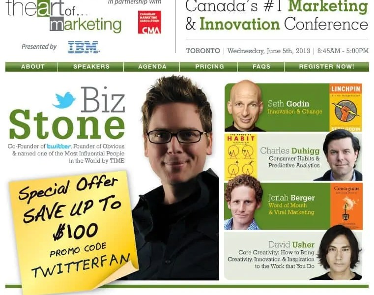 The promotional image for The Art of Marketing in Toronto, June 5, 2013.