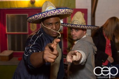 TacoTweetup — Kevin Kelly and James Rubec wearing sombreros