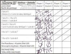 Mattel Game On! Gameology — Phase 10 Dice Game — Score Sheet Side 1
