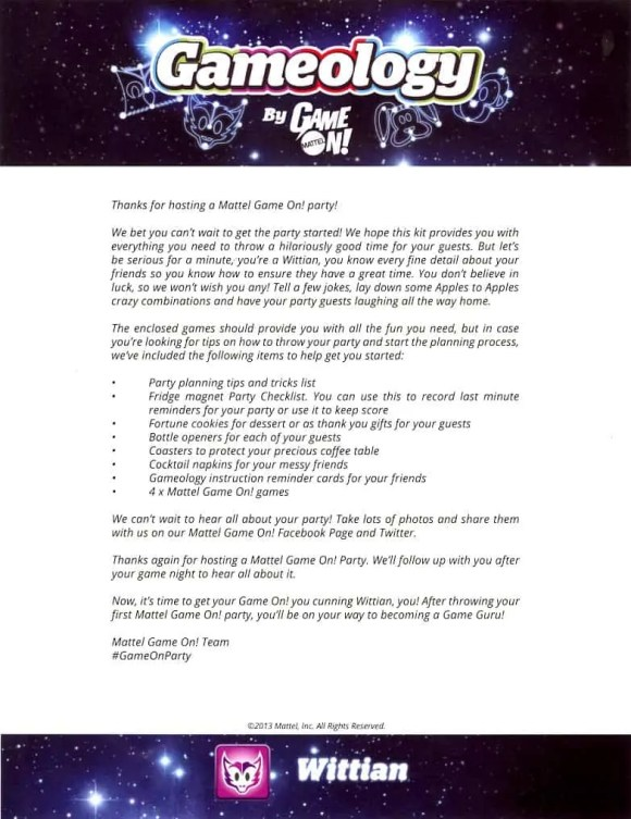Mattel Game On! Gameology — Welcome Letter