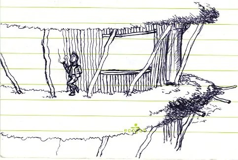 A sketch of a tree town I was thinking up for Fish & Chimps