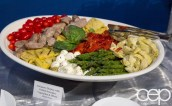 #FordNAIAS 2014 — Day 2 — Cobo Hall — Behind the Blue Oval — Need for Speed Screening — Antipasto Display with Grilled Sausages, Vegetables & Olives
