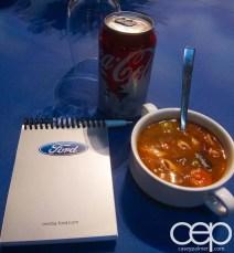#FordNAIAS 2014 — Day 1 — Westin Detroit Metropolitan Airport — Westin Atrium — Soup, Coke and my Notebook
