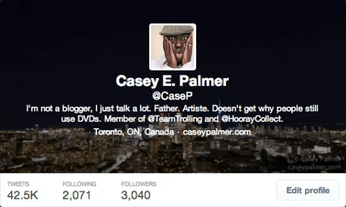 #100HappyDays — Day 25 — @CaseP Twitter Bio Screenshot