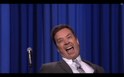 "The Tonight Show with Jimmy Fallon — Special Guest Emma Stone — Lip Sync Battle — Jimmy's Face at the end of ""Mr. Roboto"""
