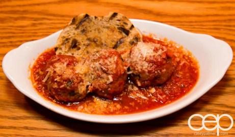 Team Trolling Does Pizzeria Libretto — Libretto Meatballs — spicy bomba tomato sauce, grilled crostino, grana padano