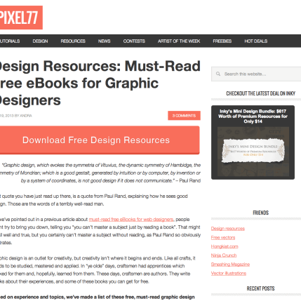 10 Links You Should Click — 3) Pixel 77 || Design Resources: Must-Read Free eBooks for Graphic Designers