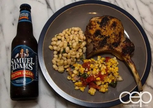 #SamInHand — Beer-Brined Pork Chops — Complete Meal with Sam
