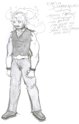 A sketch of my Doomsdayblaze character early into my Fish & Chimps series.