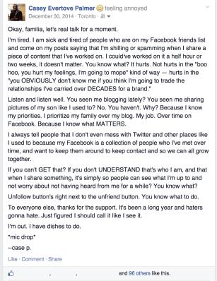 Casey Palmer Facebook Status December 30 2014
