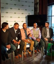 Casey Palmer x Swiffer Present — 36 Hours in NYC — L-R — Patrick Carrie (Getting Rad with Dad); Mike Johnson (Playground Dad); Anthony Anderson; Doyin Richards (Daddy Doin' Work); Beau Coffron (Lunchbox Dad)