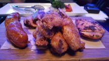 Monthly Wrap-Up — March — Carnivor Cabernet at the Shark Club — Meat Platter (Chicken Wings, Spicy Chorizo Sausage, Grilled Chicken Breast, Sirloin Steak)