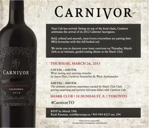 Monthly Wrap-Up — March — Invite to a Night Out at the Shark Club with Carnivor Cabernet