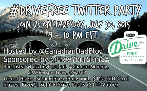 Schick #DriveFree Twitter Party Promotional Pic