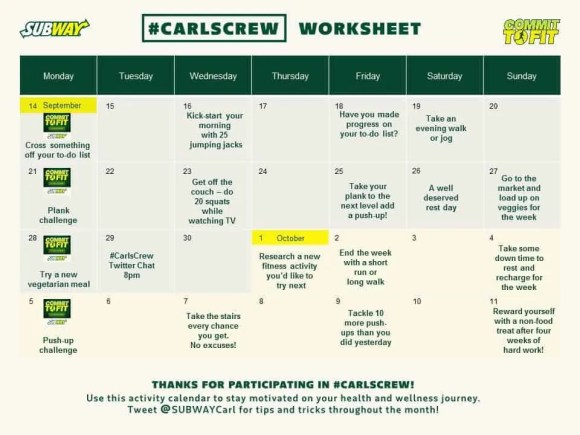Another Shot at Carl's Crew with Subway Canada—Getting My Life in Gear!—Carl's Crew Calendar Worksheet