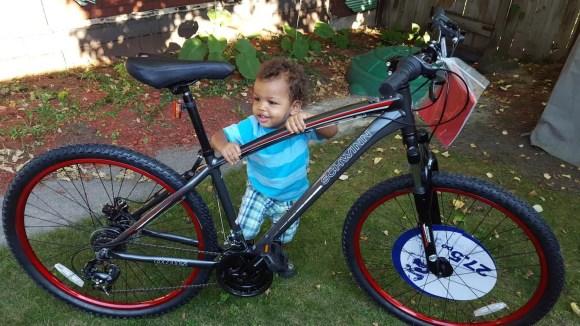 In It to Schwinn It—How the Biking Behemoth Got Me Back on Two Wheels!—The Schwinn Onus in my Backyard with my Son