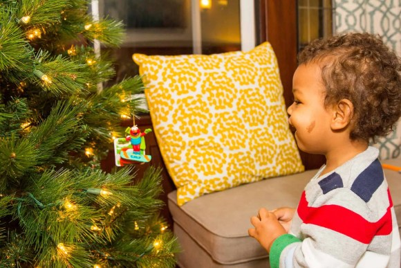 A Case Cringle Christmas, Day 2—My Toddler, Me and a Little Cloud b!—Little Man Looking Happily at the Christmas Tree