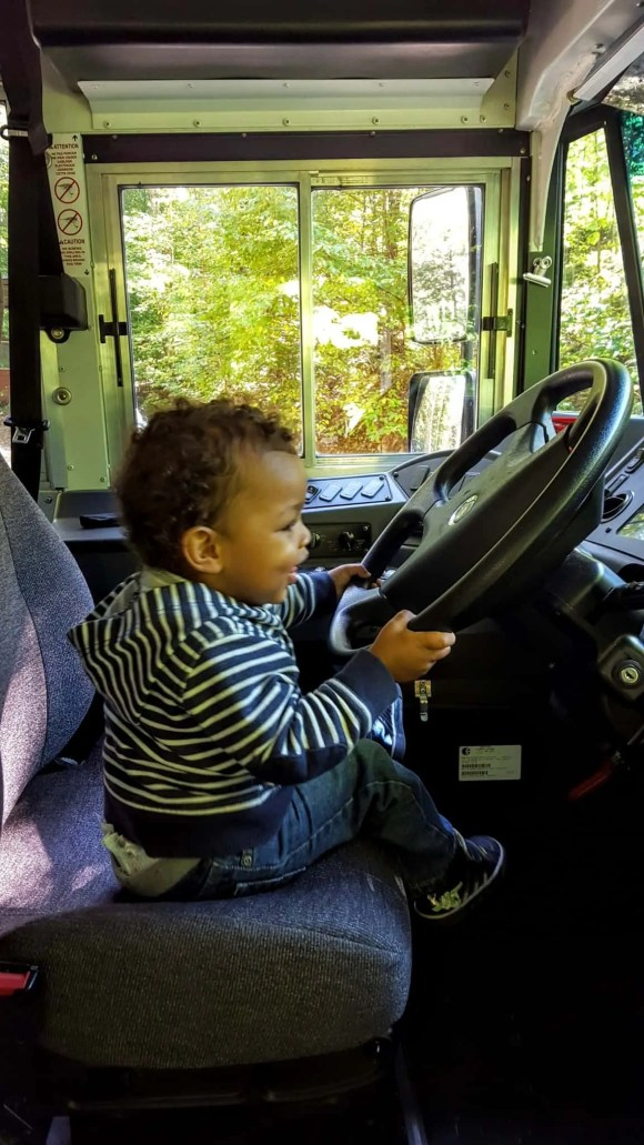 Drive Your Way to Delight at isure.ca!—Little Man Behind the Wheel of a Bus