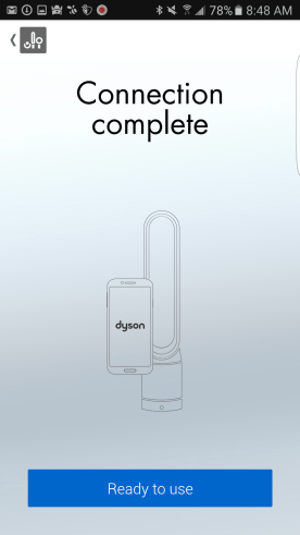The Dyson Pure Cool Link — Dyson Link App — Connection Completed