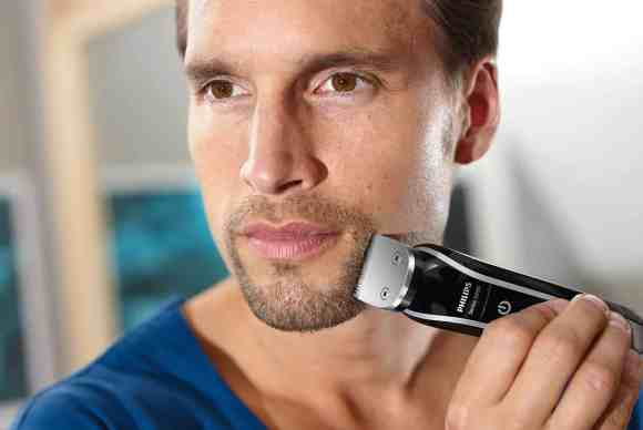 Upgrade Your Shave with the Philips MultiGroom 5000!—The Philips MultiGroom 5000, its Combs and Attachments—Man Using the Philips MultiGroom 5000