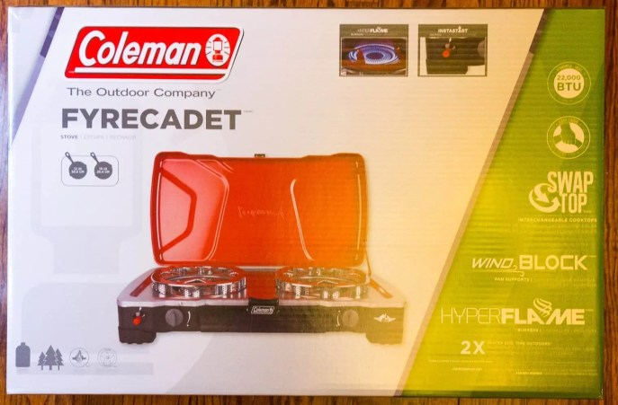 Better Camping with Coleman — The ONLY Way To Do It! — Coleman HyperFlame FyreCadet Camping Stove — Packaging