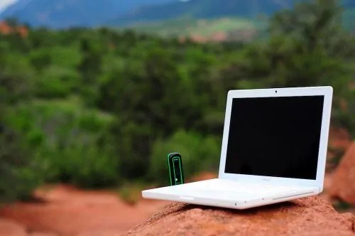 Papier — An Old School Blogger's Battle with Perfectionism — Laptop in Nature on a Mountain