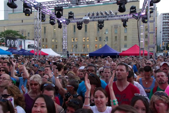 A crowd at a concert at the Toronto Pride Festival