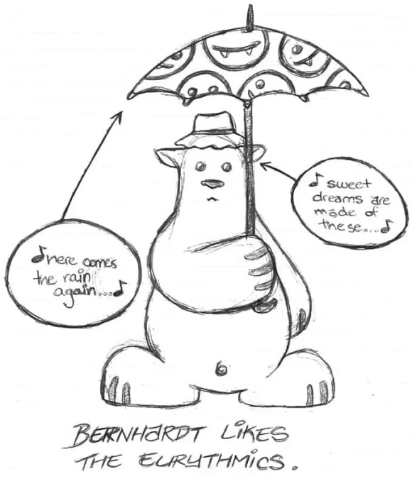 A sketch of Bernhardt the Belligerent Bear, a character I came up with in university.