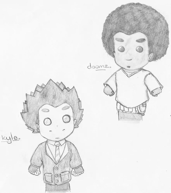 A sketch of my characters Kyle Kongo and Doomz drawn as hand puppets for my Fish 'n' Chimps 4 Kids comic book.