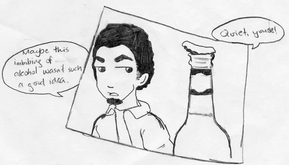 """A comic strip featuring a conversation between Casey and his beer bottle. Casey: """"Maybe this imbibing of alcohol wasn't such a good idea."""" Beer bottle: """"QUIET, youse!"""""""