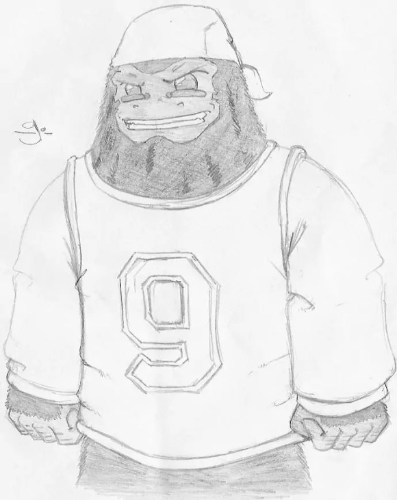 A sketch of my character G drawn as a hand puppet for my Fish 'n' Chimps 4 Kids comic book.