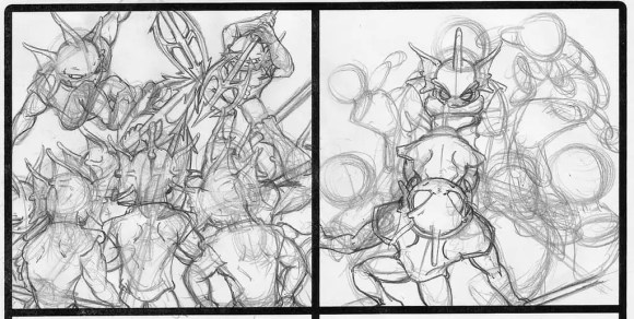 A sketch preview of a couple panels for Fish & Chimps, showing the process I use to bring the webcomic together.