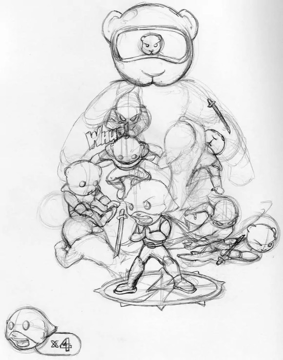 SuperHood vs. The Teddy Ninja Army: An unfinished sketch for an old DeviantArt contest