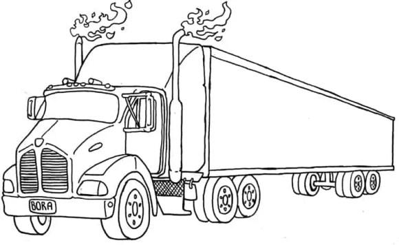 A tattoo design of a trailer truck.