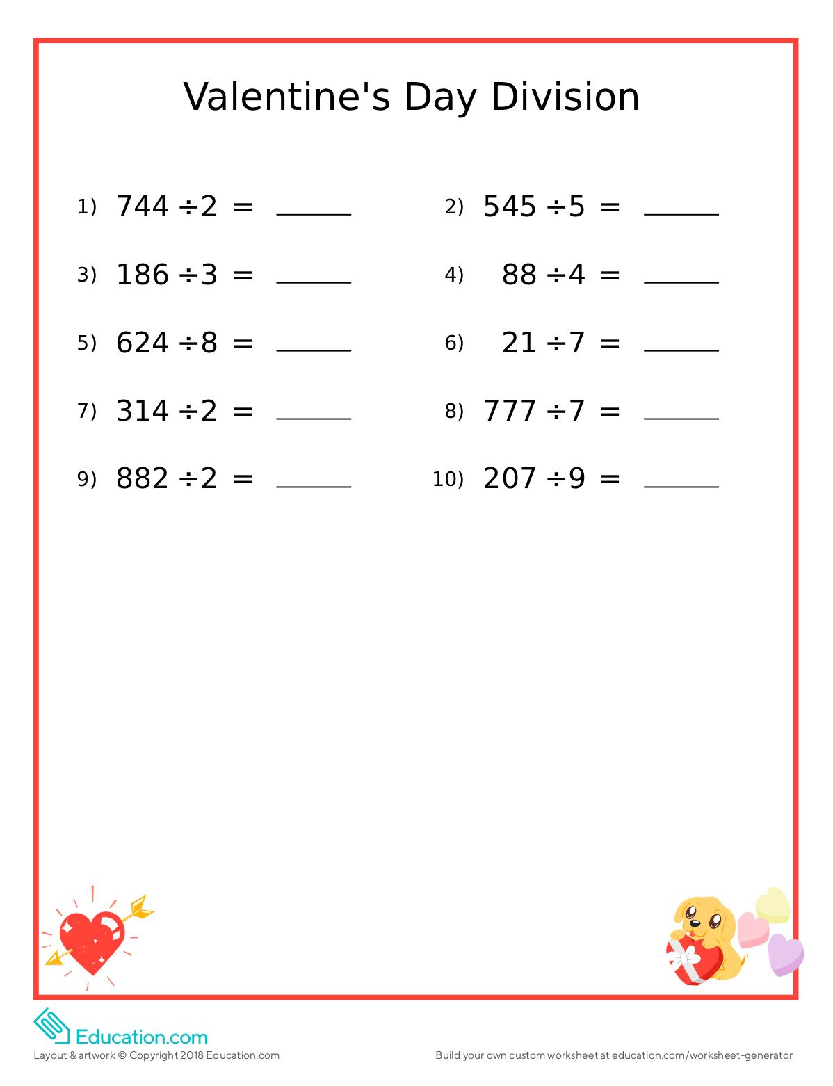 Valentine S Day Fun Math Worksheet