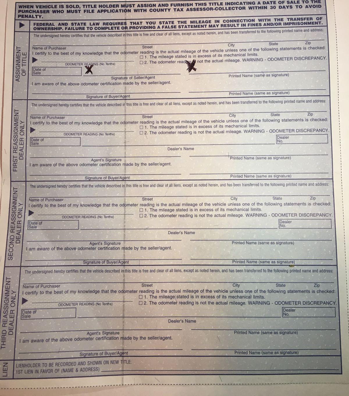 Vehicle title transfer harris county texas