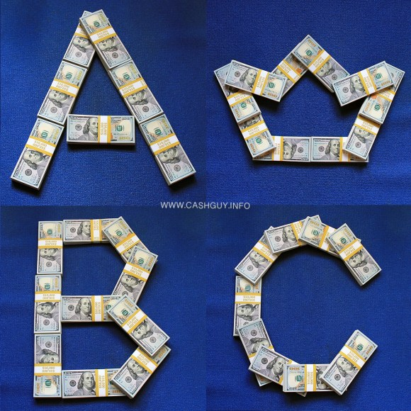English Letters Made of Money Stacks!