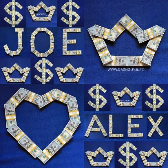 Popular Names Made of Money Stacks
