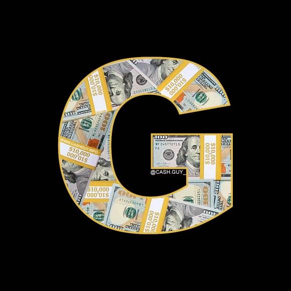 "CashGuy's ""G"" Letter Made of Money Stacks on Black Background"
