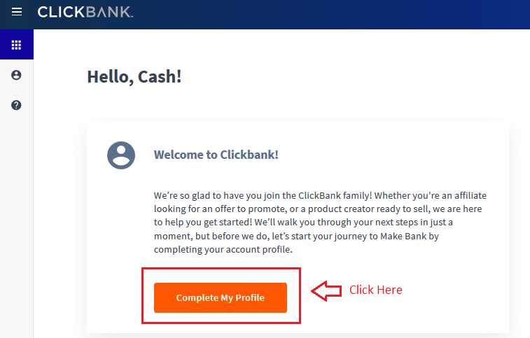 05 complete profile - Step by Step guide to create ClickBank Affiliate Account