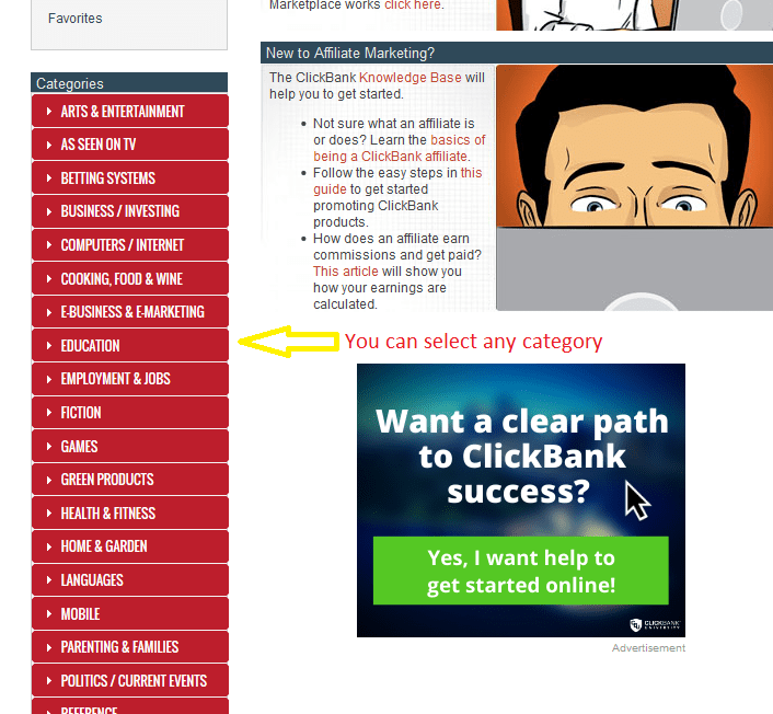 13 category - Step by Step guide to create ClickBank Affiliate Account