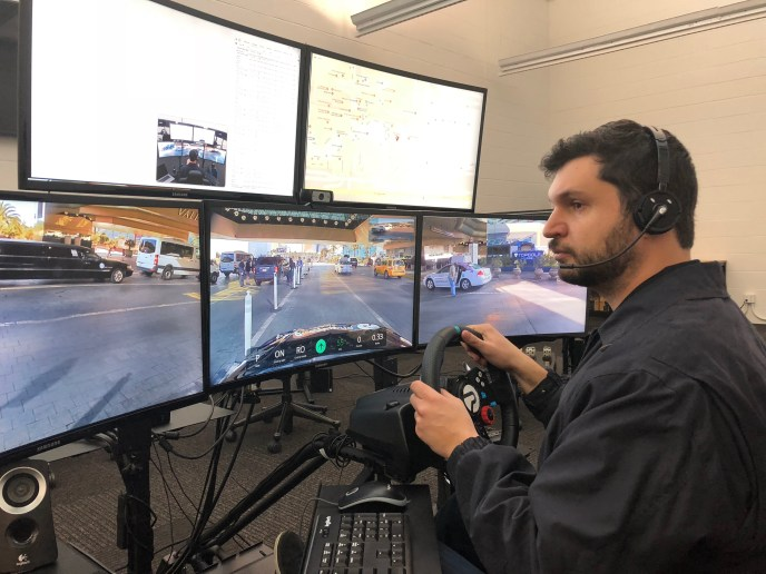 A Phantom Auto employee remotely driving a vehicle.