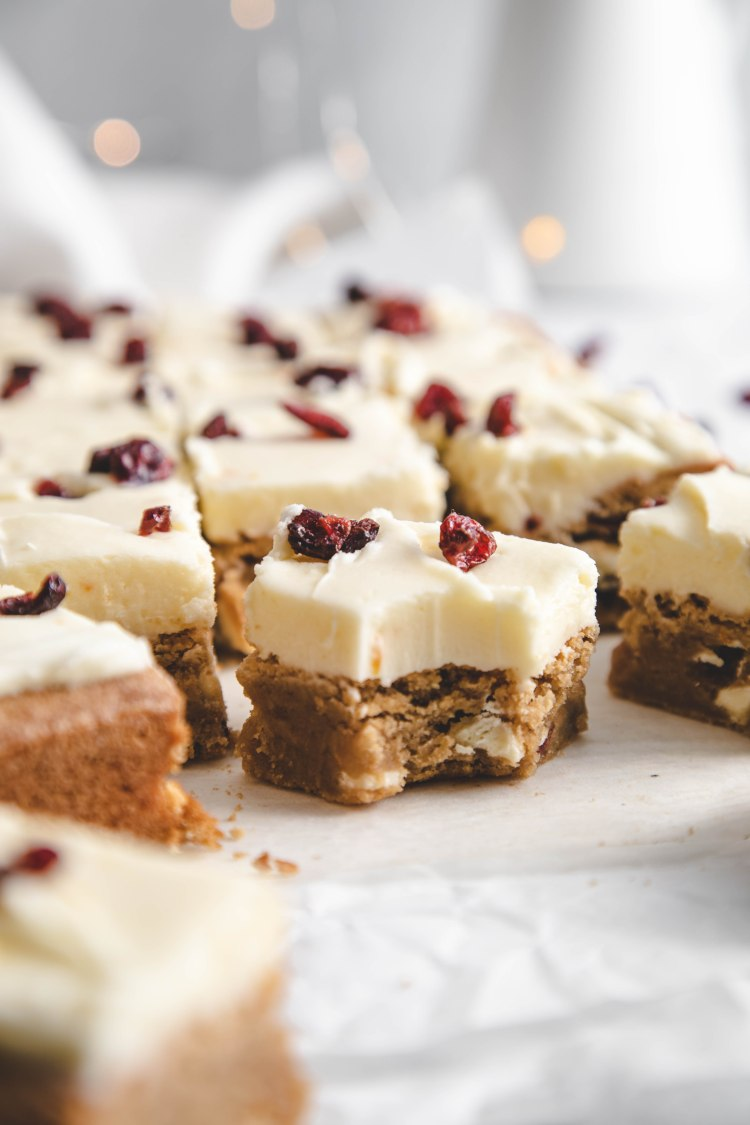 White Chocolate Cranberry Blondie Recipe by Cashmere & Cocktails