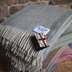 Recycled Wool Herringbone Blanket Throw | Made in Britain