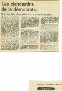 LES CLANDESTINS DE LA DEMOCRATIE La Cité 1979